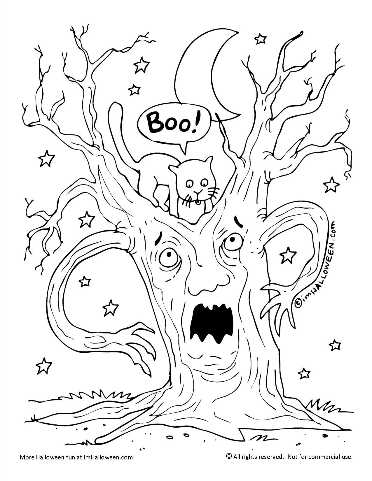 Coloring Halloween Pages Spooky Tree 2020 Halloween