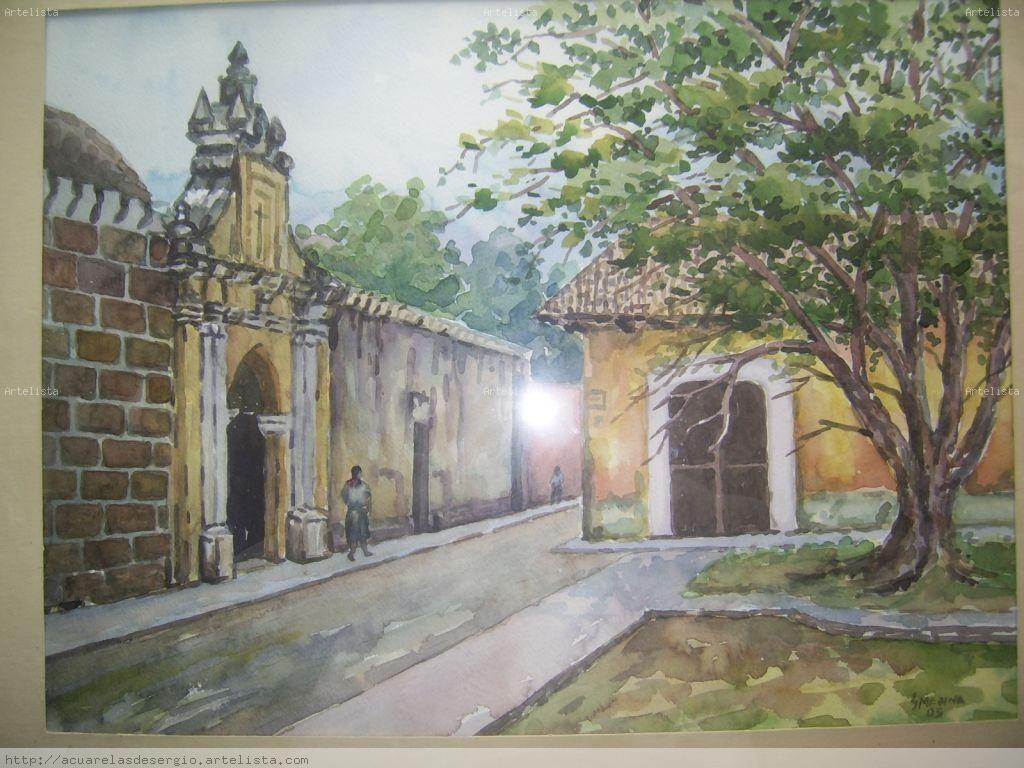 Calle De Antigua Guatemala Painting Rocky Diego Rivera