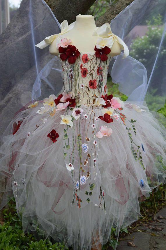 Erwachsenen Märchen Tutu Kleid Elfenbein Blume Fee Dresscostume Märchen Feenflügel, Fee Geburtstag, Fee Kostüm, Fee Festival Kostüm Kleid #dresseseveryoccasion