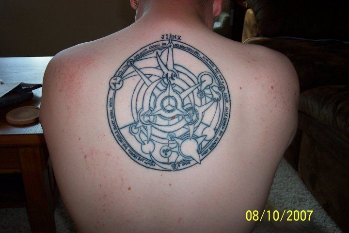 my tattoo of full metal alchemist transmutation circle made by alphonse at the end of the first. Black Bedroom Furniture Sets. Home Design Ideas
