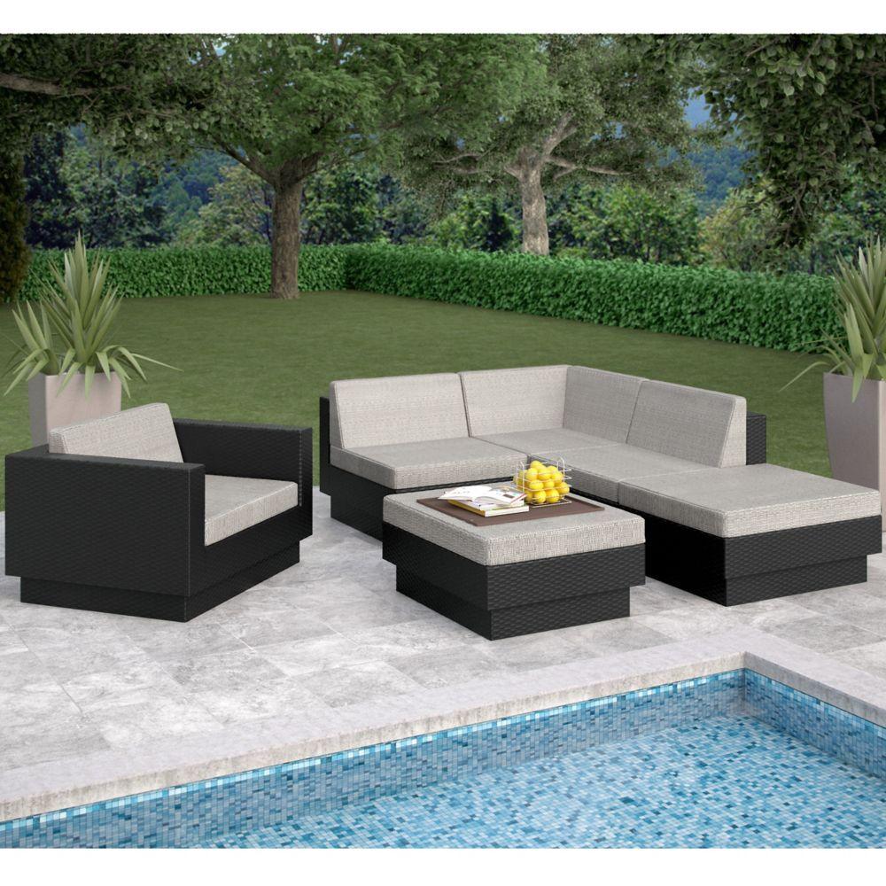 Park Terrace Textured Black 6Piece Sectional Patio Set