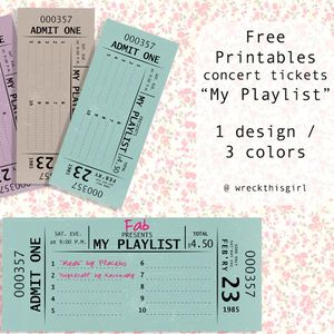 free printable vintage concert tickets and playlist awesome