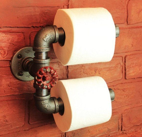 Photo of Double tp holder, industrial pipe toilet paper holder, black pipe bathroom accessories and decor red rustic industrial farmhouse fixture