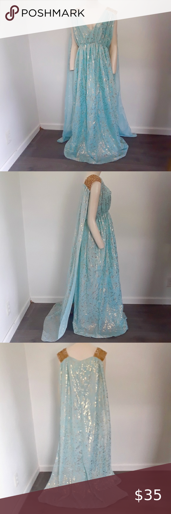 Grecian Goddess Costume Blue Gold Roman Toga COS