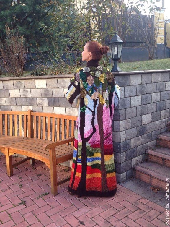 """Купить Вязаное спицами пальто """"Золотая осень"""" - рисунок, вязание на заказ, вязание спицами, вязаный"""