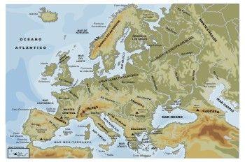 Mapa fsico de Europa  Ciencias Sociais  Pinterest  Geografa