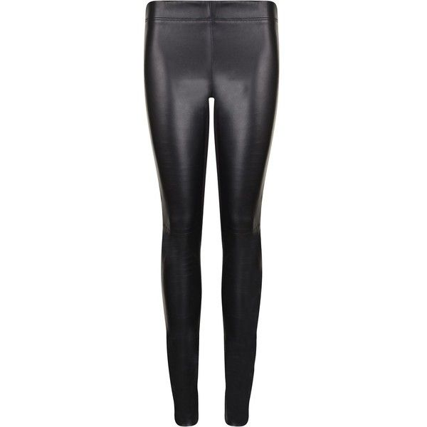 JOSEPH Leather Leggings ($805) ❤ liked on Polyvore featuring pants, leggings,  bottoms. Leather Panel LeggingsBlack ...