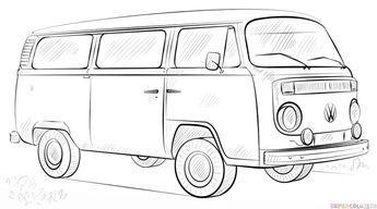 Kleurplaat Volkswagenbusje Vw Bulli Malvorlage