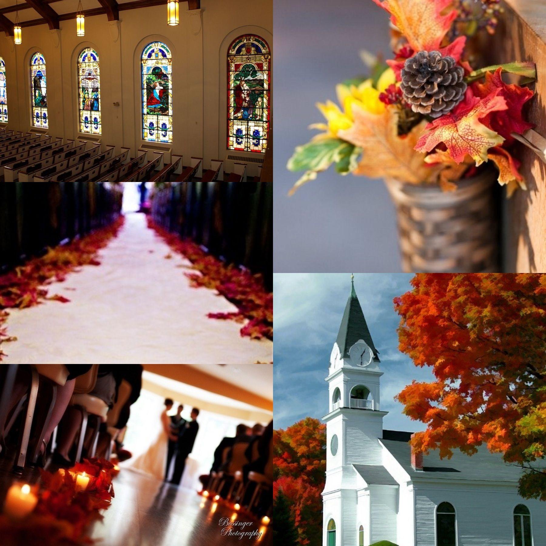 Autumn Fall Wedding Ceremony church aisle decor silk maple leafs