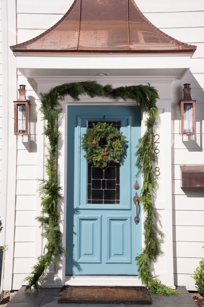 Nice Chic Funny Welcome Mats In Entry Traditional With Door Wreath Next To Blue Front  Door Alongside Gable Roof Over Porch And Copper Roof