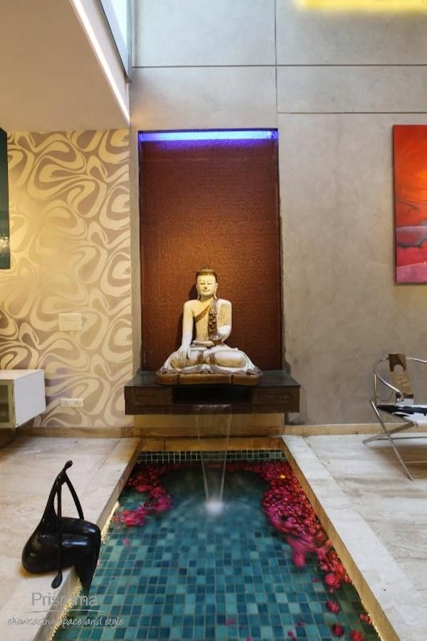 Modern Zen Foyer : Water body feature kapil aggarwal buddha at home