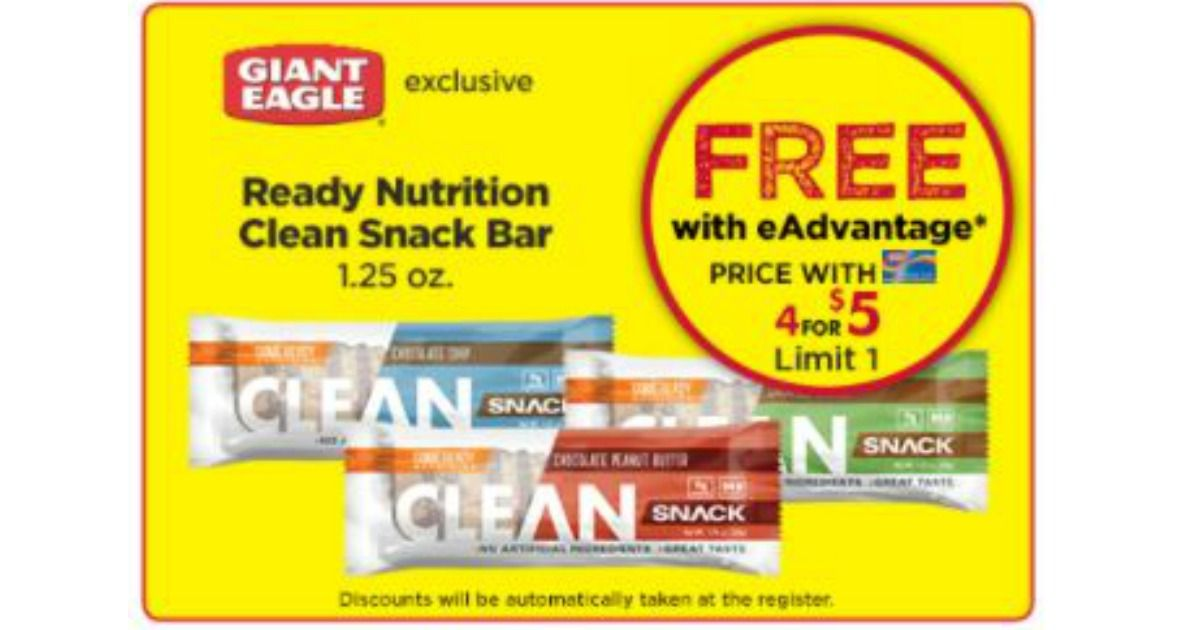 Free Ready Nutrition Clean Snack Bar Giant Eagle Thru 2 21 With