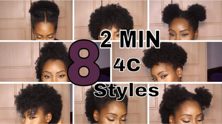 8 Super Quick 2 Minute Styles On Short 4c Hair With Images