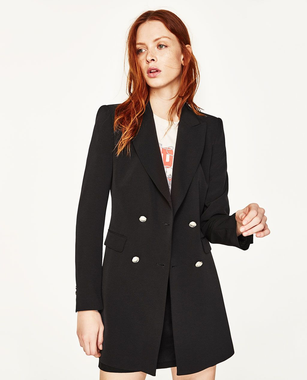ad533dc0 DOUBLE-BREASTED JACKET WITH BUTTON FASTENING-NEW IN-WOMAN | ZARA ...