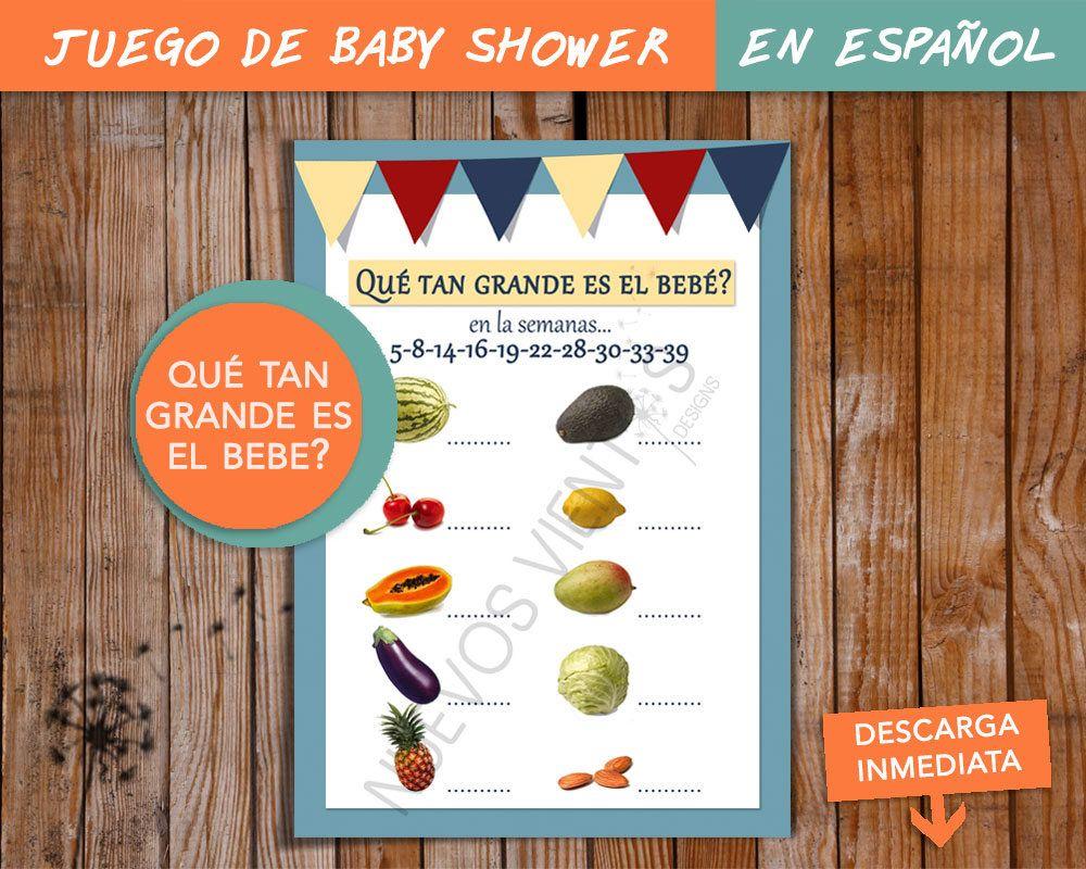Baby Showers En Espanol ~ Juego para baby shower dos versiones en espaÑol y en ingles