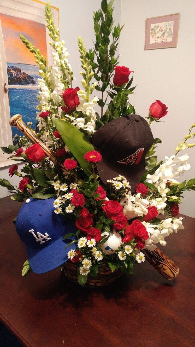 Baseball lovers funeral basket. We can customize the basket with ...