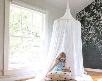 Pompom Play canopy in white cotton / hanging tent/ hanging canopy & Pompom Play canopy in white cotton / hanging tent/ hanging canopy ...