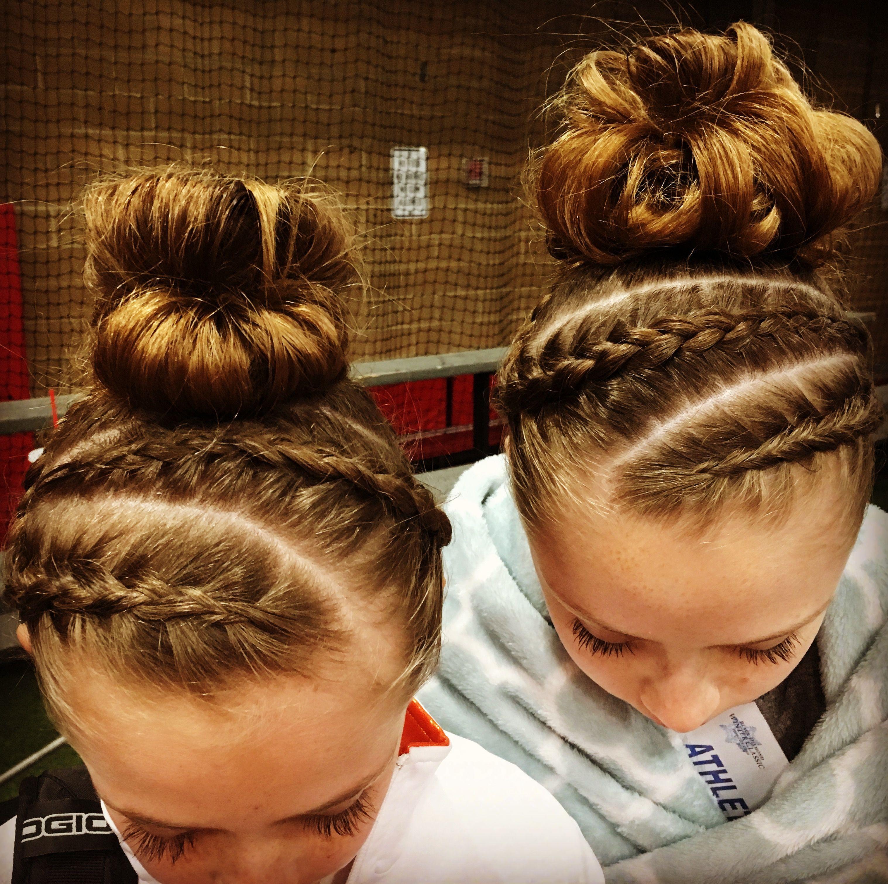 Gymnastics Meet Hair Ear To Ear Double Opposite Dutch Braid In 2020