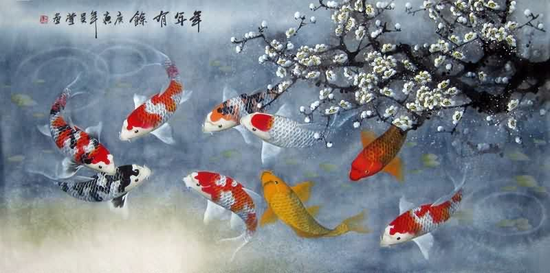 Koi fish 66cm x 136cm 26 x 53 2381001 z fish for Chinese koi fish painting