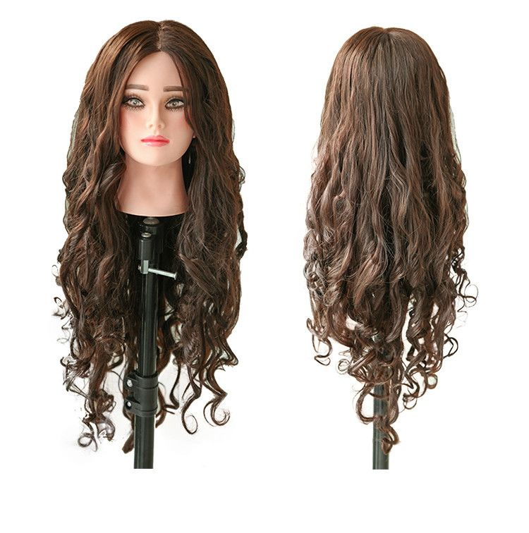 21inch 80 Human Brown Hair Hairdresser Mannequin Head Hair Style Hairdressing Dolls Head