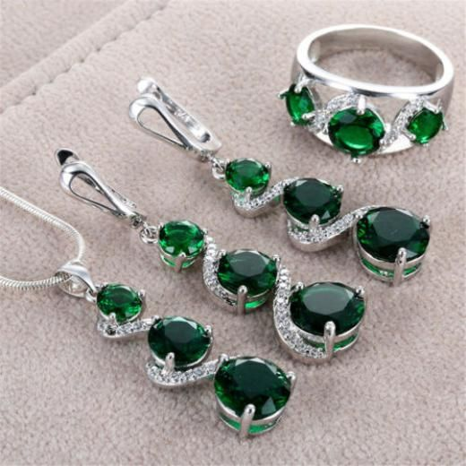 925 Silver Emerald Gemstone Rings Pendant Necklace Earrings Women Jewelry Set China Band 6/7/8/9 Wedding,birthday,party,bridal,etc 1