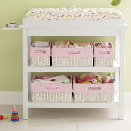 Diaper Changing Table Cloth covered baskets Baby room