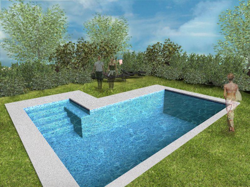 Piscina en forma irregular con gradas de acceso for Formas para piscinas