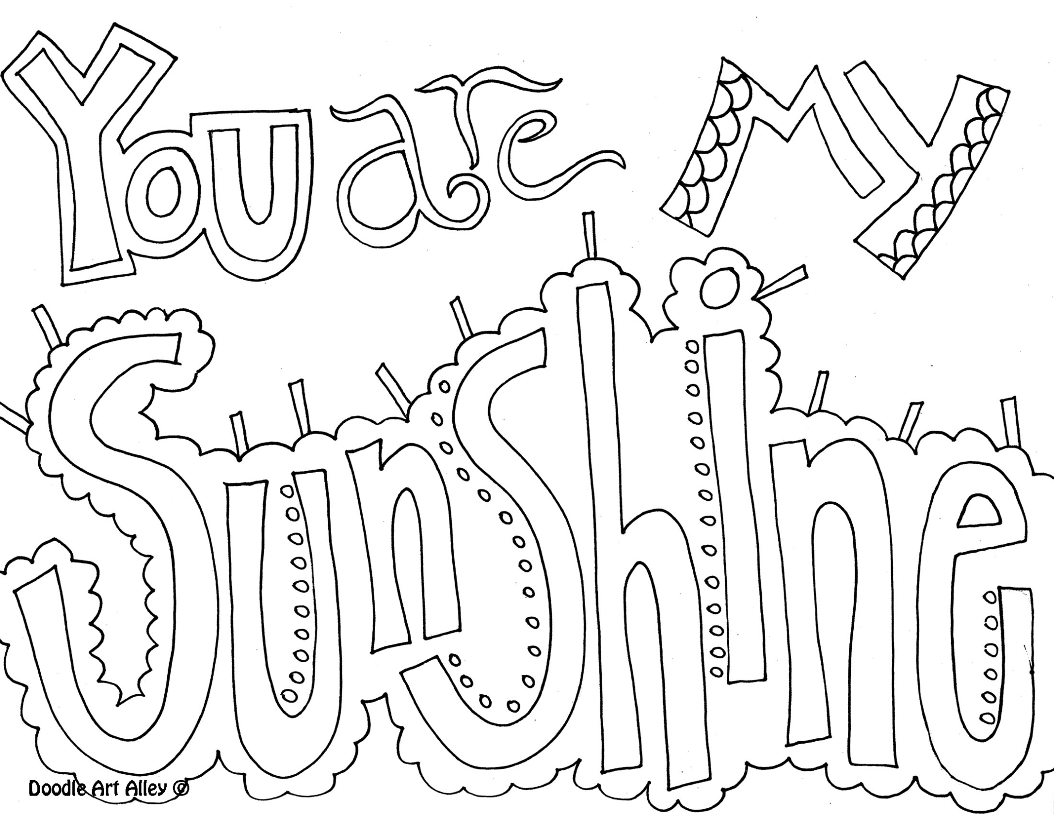 quote coloring page you are my sunshine - Friends Quotes Coloring Pages