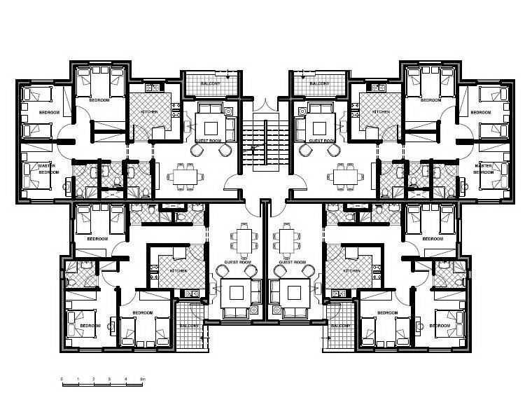Apartment building floor plans delectable decoration for Narrow apartment plans