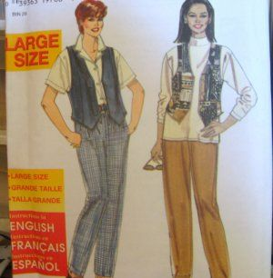 SIMPLICITY SEWING PATTERN - 7448 - 18W-26W PANTS AND VEST