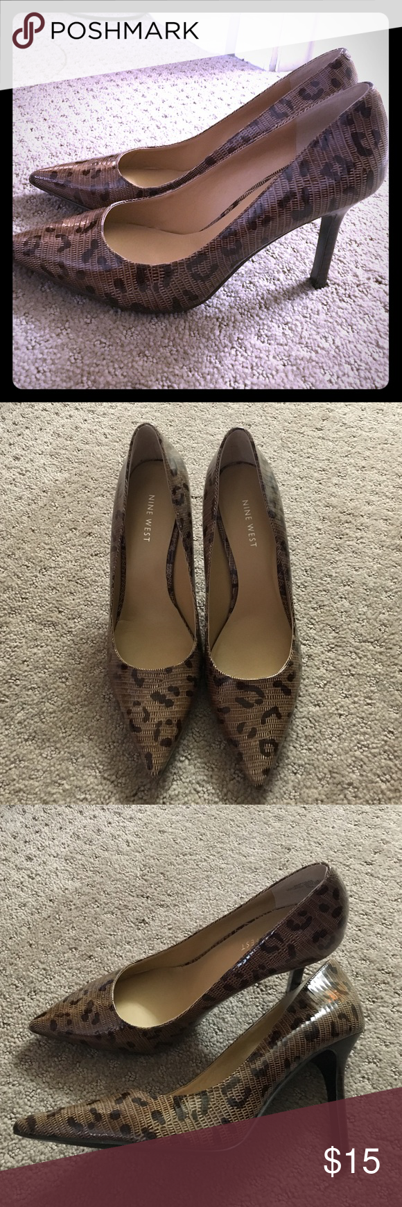 💃🏽Leopard print high heeled shoes Super cute shoes with a little sass. Wear to work or for drinks with friends. Think cute jeans and top and these shoes! Size 7. Nine West. Worn once. Like new! Nine West Shoes Heels