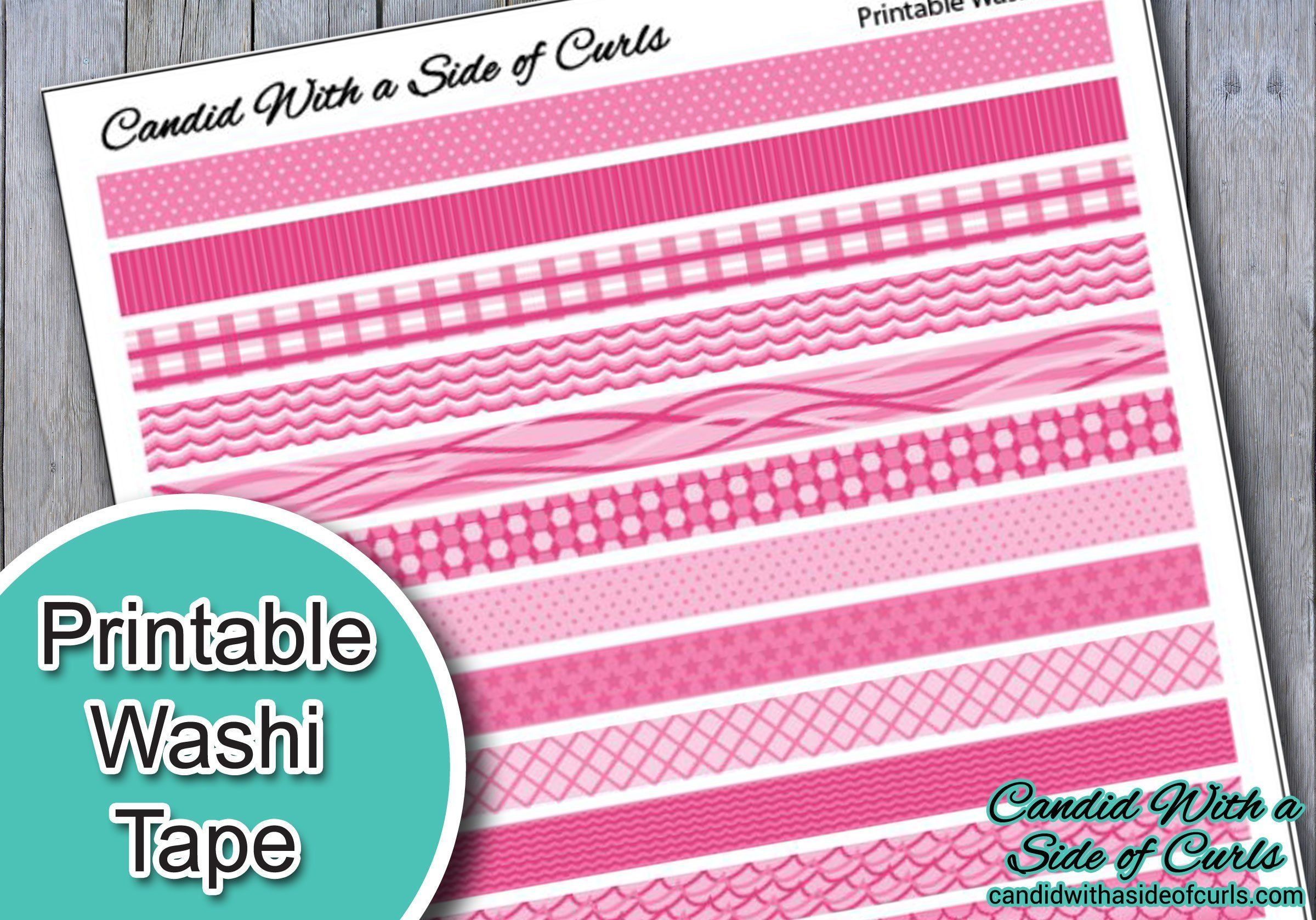 Pink Printable Washi Tape By Candidwithcurls On Etsy