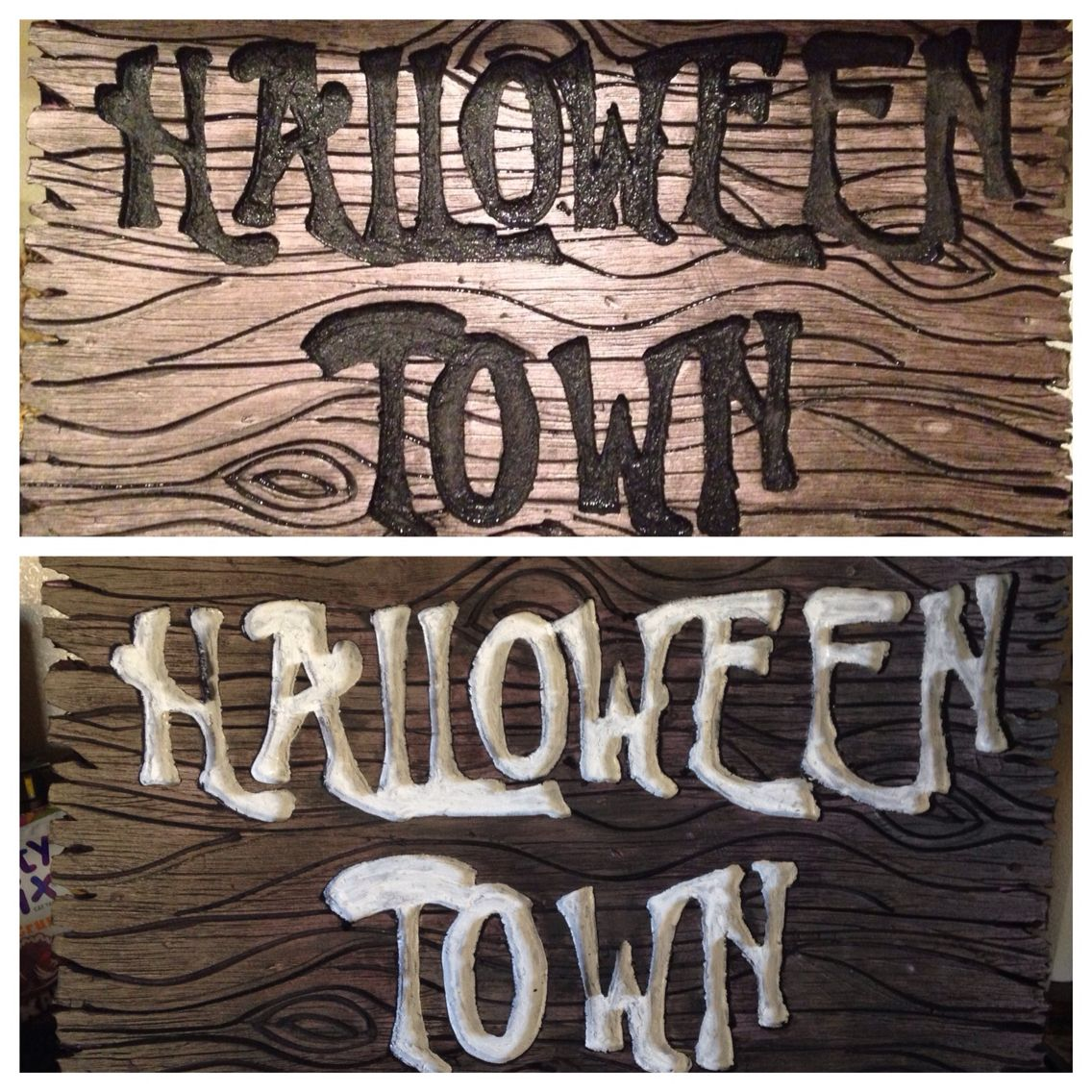 my halloween town sign for my nightmare before christmas halloween yard display made from pink insulation foam cut wood grain in with a soldering iron