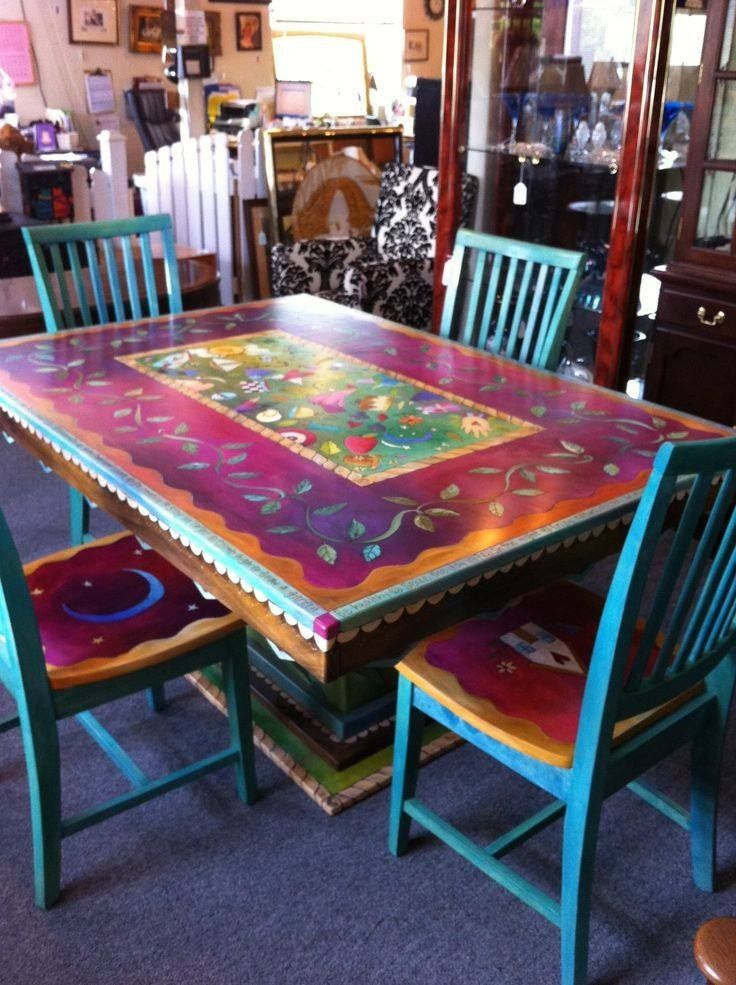 Gorgeous Bohemian Painted Folk Table And Chairs Set Red, Green, Gold,  Turquoise, Blue