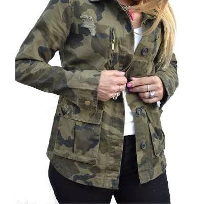 9a301f39ac7e8 Campera De Gabardina Camuflada Militar Mujer -   890