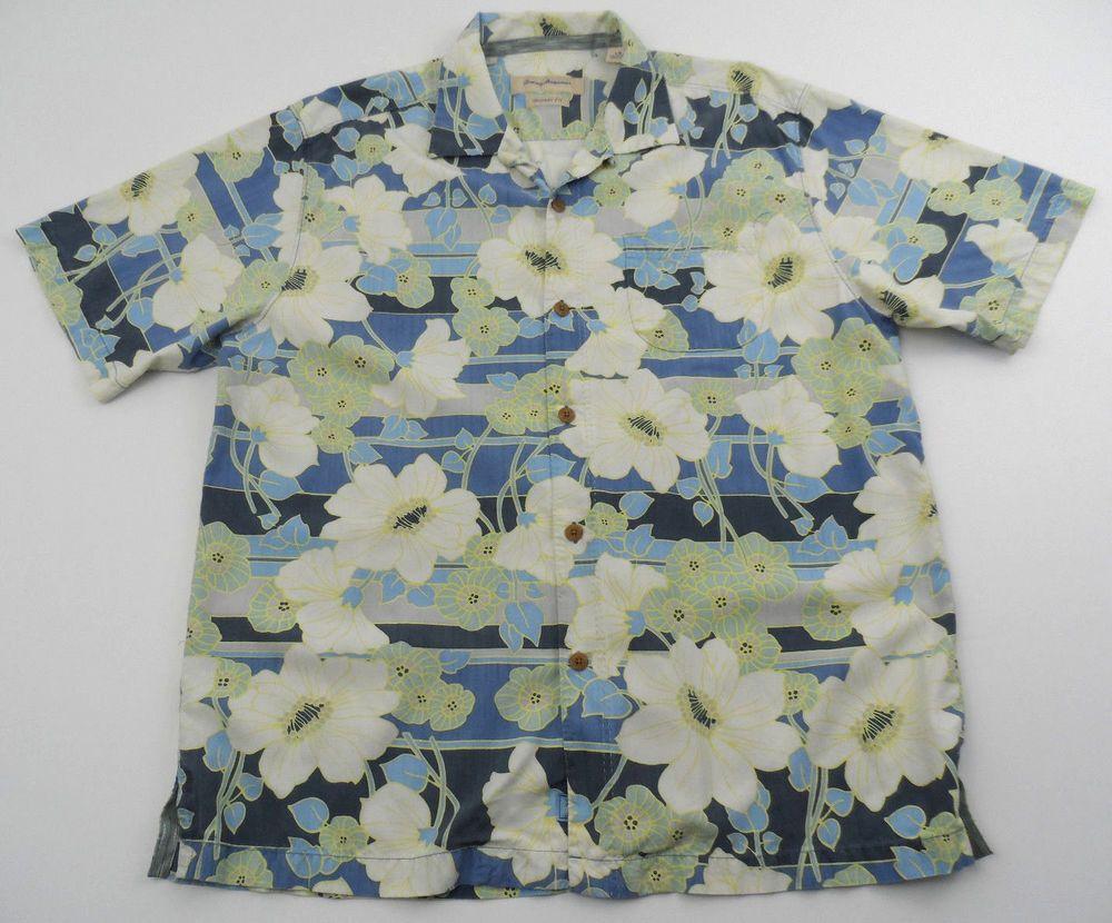 Tommy Bahama Tropical Hawaiian Silk Short Sleeve Shirt Large L Original Fit #TommyBahama #Hawaiian