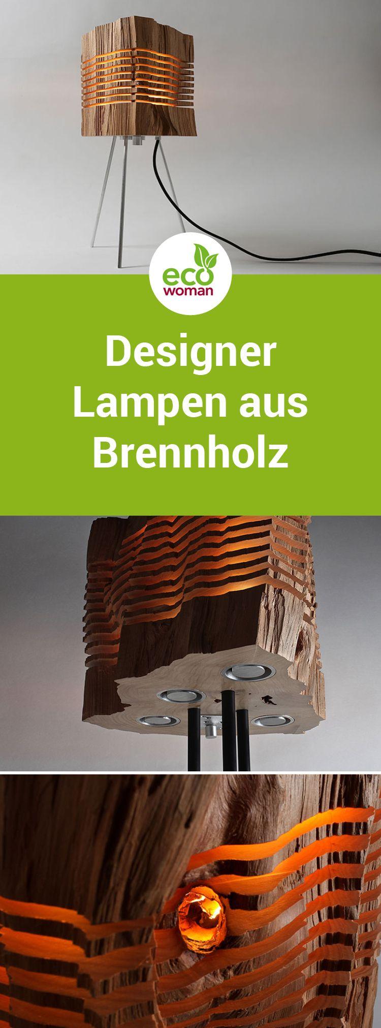 Upcycling Designer Lampen aus Brennholz gebaut Handarbeit