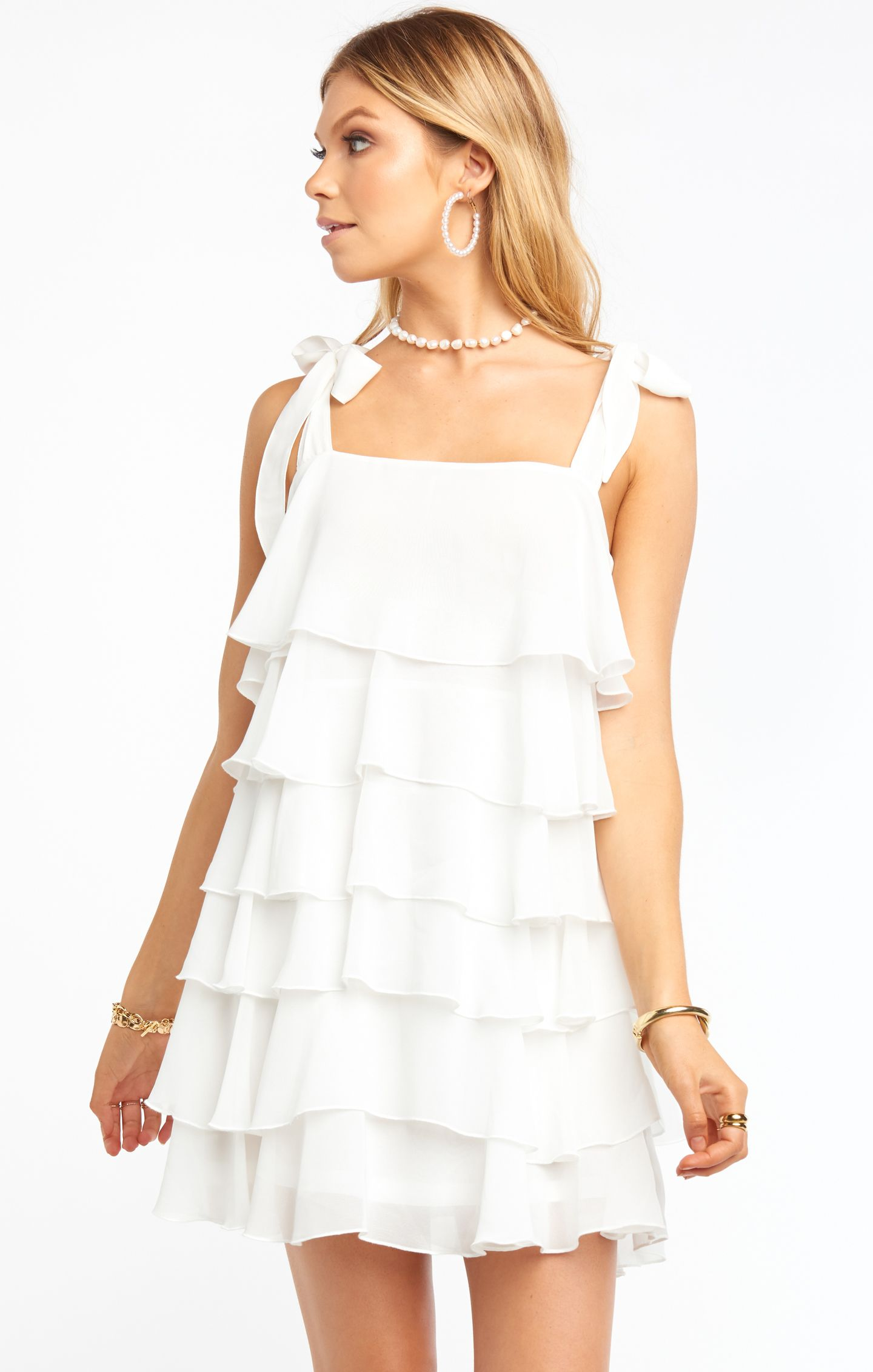 Rowen Ruffle Dress White White Dresses Graduation Cute White Dress Elegant White Dress [ 2263 x 1440 Pixel ]
