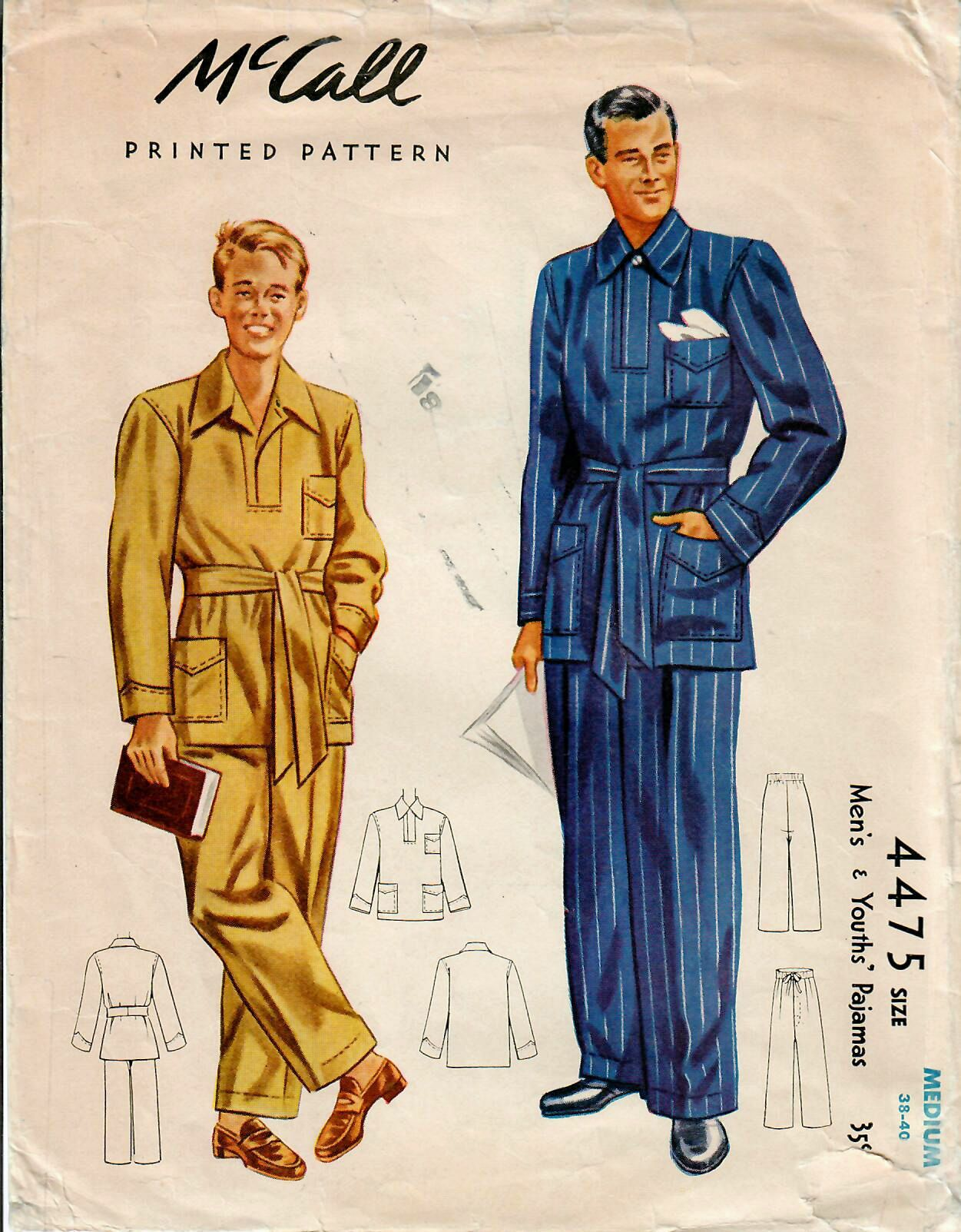 1940s mccall 4475 vintage sewing pattern mens pajamas tailored mccall 4475 vintage sewing pattern mens pajamas tailored pajamas size medium by midvalecottage on etsy jeuxipadfo Choice Image