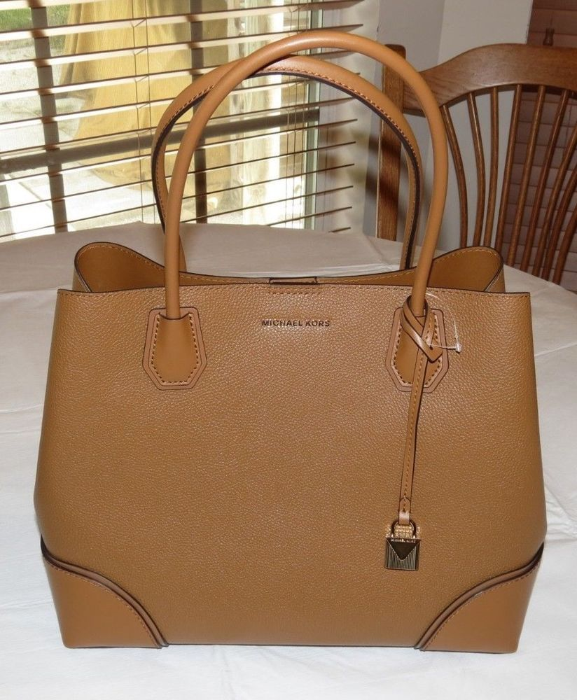 Michael Kors Mercer Corner Studio Large Center Zip Tote Leather Satchel  Acorn  MichaelKors  Satchel f926e21c20e4c