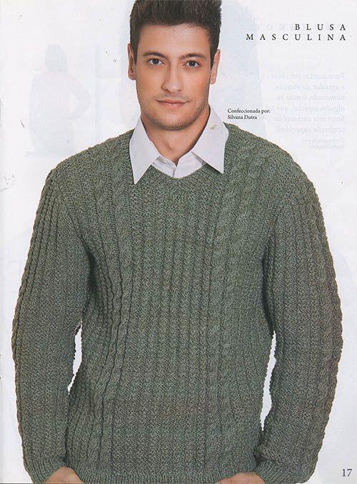 Blusa de tricô masculina gola V, cor verde. Men V-neck sweater ... 704a627256