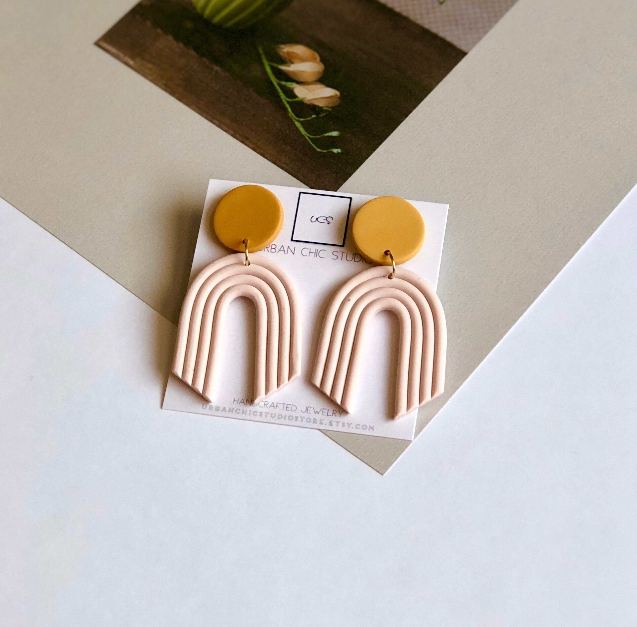 Photo of ANNABELLE earrings in pale pink and yellow, Arch earrings, geomeyric earrings, Statement drop earrings, polymer clay