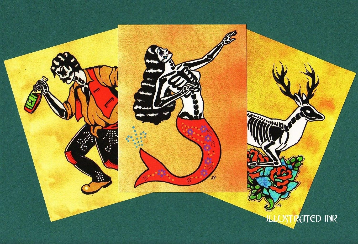 Day of the Dead Postcards Mexican Loteria Tattoo Art - ONLY 2 SETS LEFT. $4.00, via Etsy.