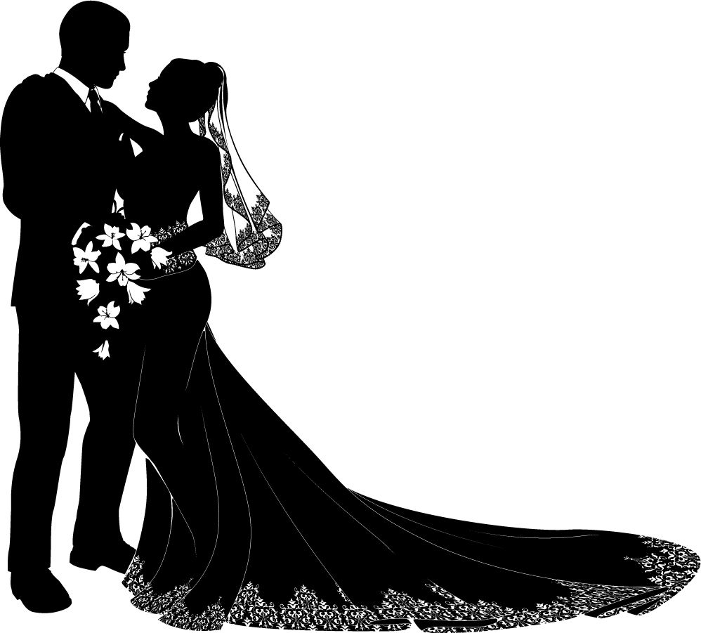 bride and groom silhouette |  シルエット bride and groom wedding