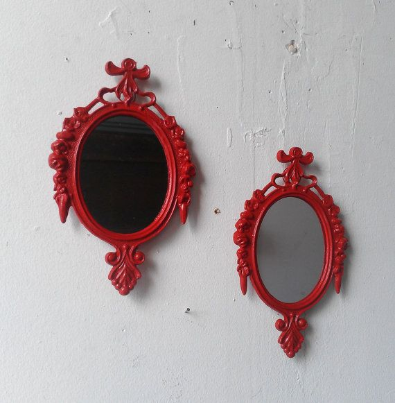 Small Framed Mirror Set of Two in Lipstick by SecretWindowMirrors
