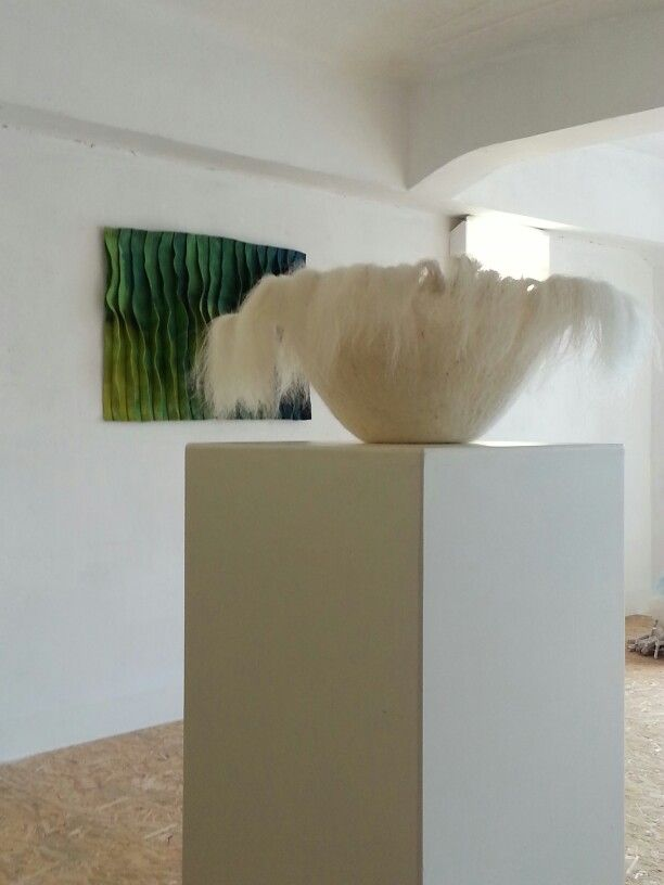 Felted fluffy bowl... Made with fibre from my favourite Crete sheeps...  www.kunst-stoff.info