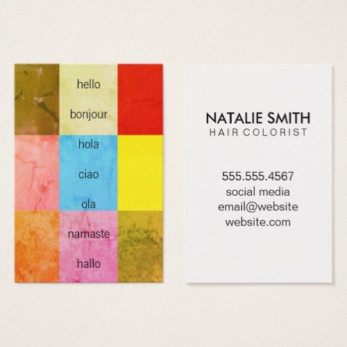 Hello greetings color swatches business card interpreter hello greetings color swatches business card reheart Gallery