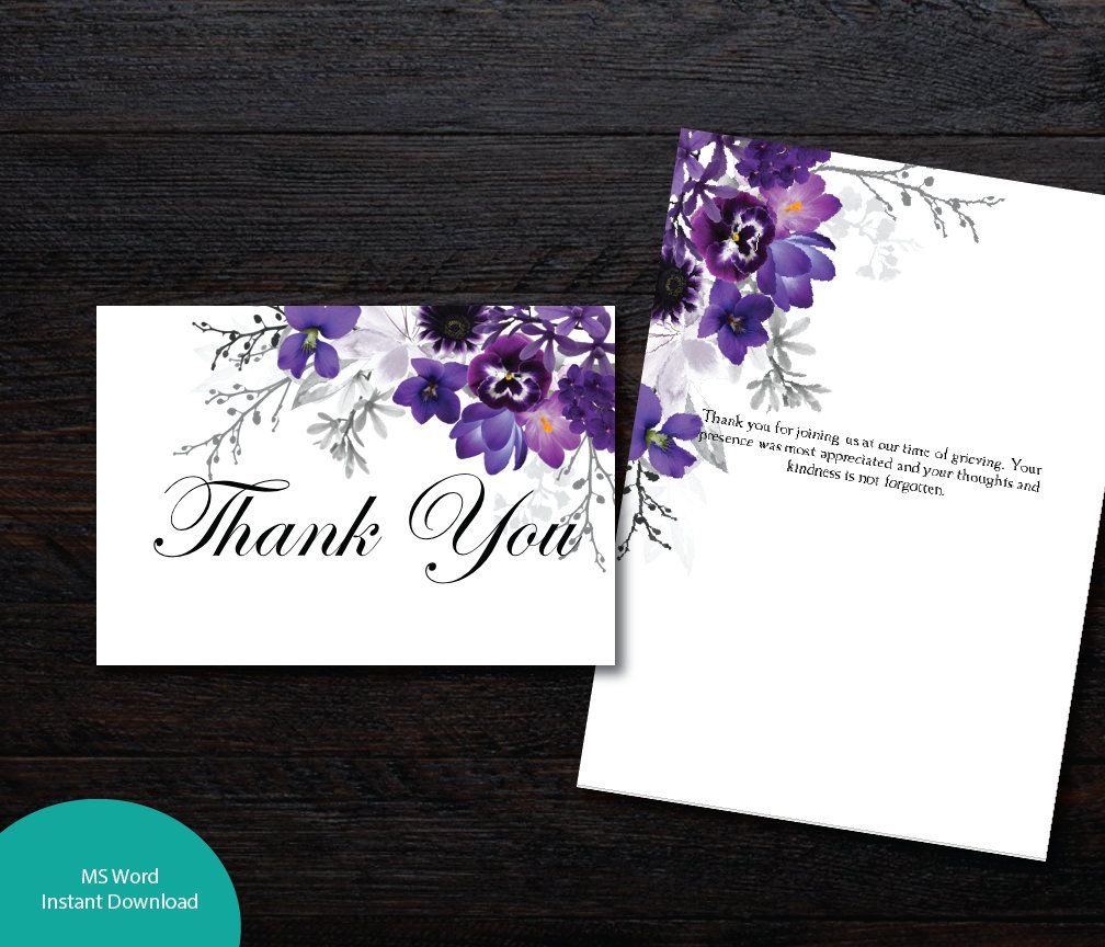 Printable Diy Funeral Folded 3 5 X 5 Thank You Card Memorial
