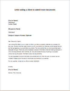 Letter Asking A Client To Submit More Documents Download At Http