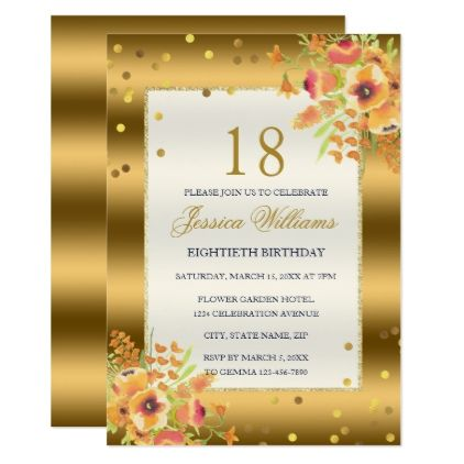 Gold Confetti Corner Flowers 18th Birthday Invitation Stylish